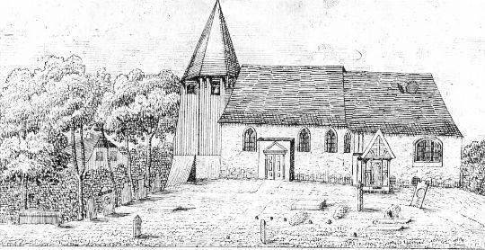 Der historische Kirchturm der Haseldorfer Kirche